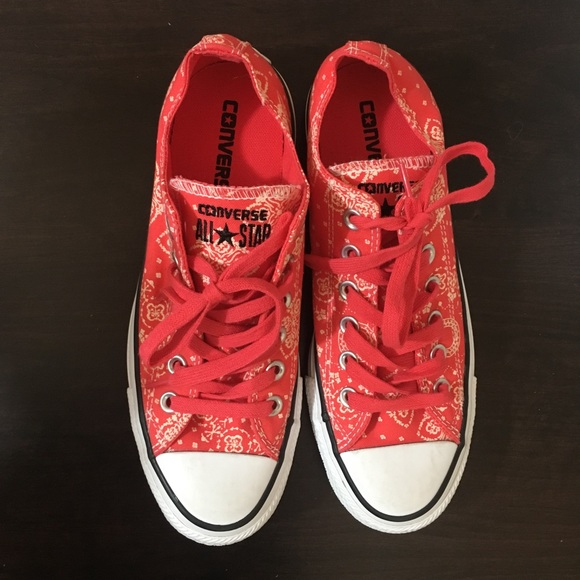 1abc39e73266 Converse Shoes - Converse- Red Bandana Print Sneakers M5 WM7